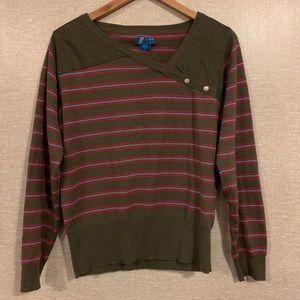 ADIDAS Sweater Stripe Pullover V Neck